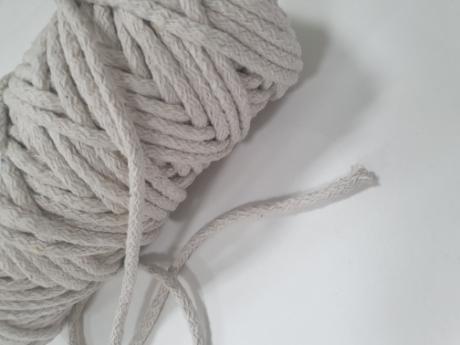 Шнур круглый хб серо-молочный 5мм  ШК017