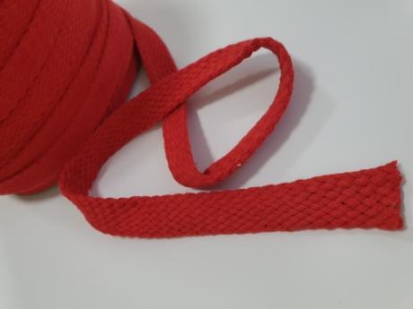 Шнур плоский хб красный 15мм ШП033