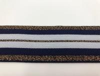 Резинка декор люрекс бел/т. син/коричневый РД4003