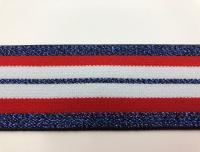 Резинка декор люрекс бел/крас/синий РД4005