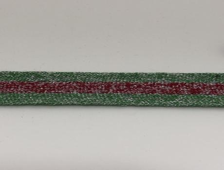 Тесьма отделочная люрекс зел/красный ТО3003