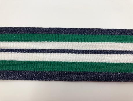 Тесьма отделочная люрекс син/зел/белый ТО5001