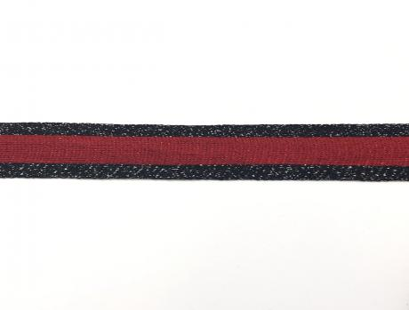 Тесьма отделочная люрекс сер/красный ТО35003