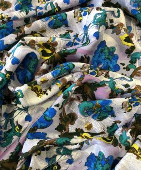 Твил 147гр/м2 137см 100% вискоза принт цветы Сине-фиолет ВТ004