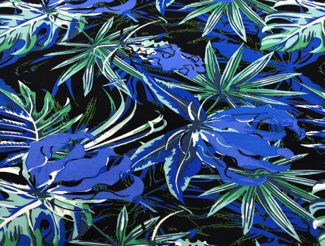 Твил 131гр/м2 134см 100% вискоза принт цветы Сине-зеленый ПН013