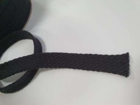 Шнур плоский хб черный 15мм ШП025
